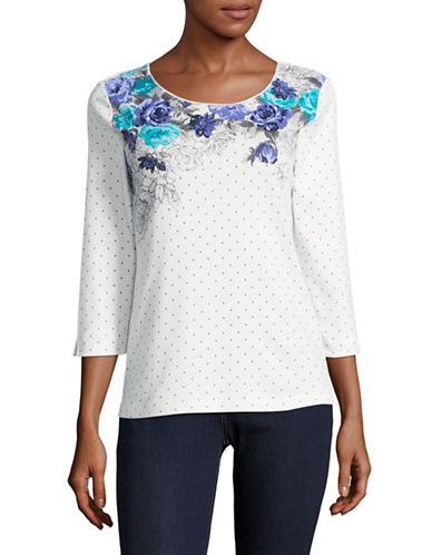 Karen Scott Print Combo Shirt-WHITE-Large