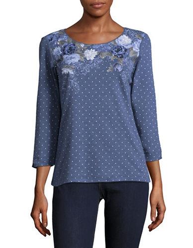 Karen Scott Print Combo Shirt-BLUE-Small