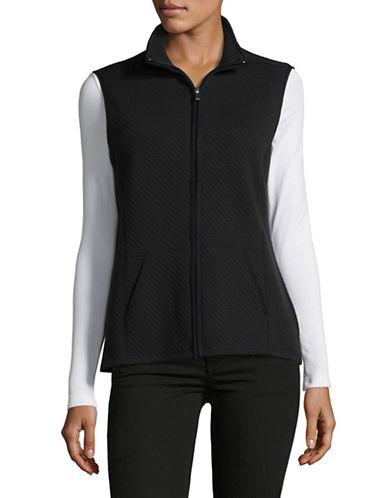 Karen Scott Quilted Texture Vest-BLACK-Small