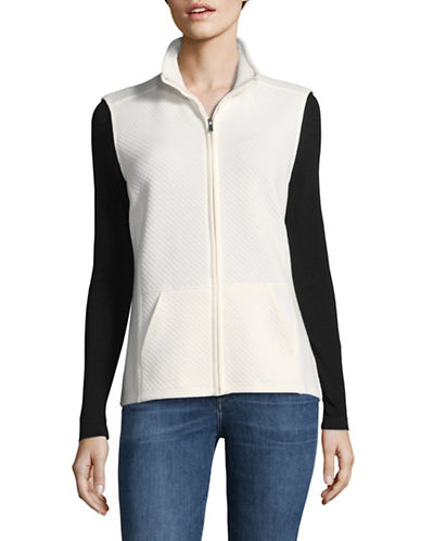 Karen Scott Quilted Texture Vest-WHITE-Medium