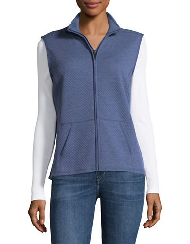 Karen Scott Quilted Texture Vest-BLUE-Medium