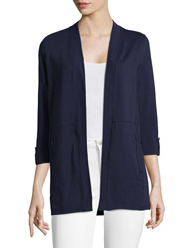 Karen Scott Exposed Seam Cardigan-BLUE-Small