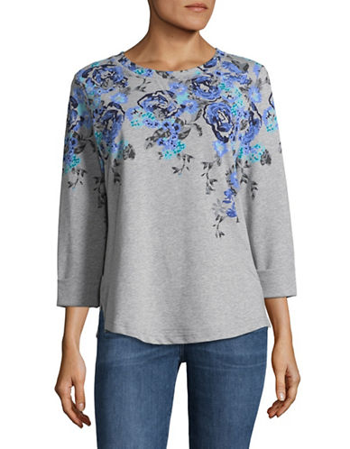 Karen Scott Cottage Floral T-Shirt-BLUE-Medium