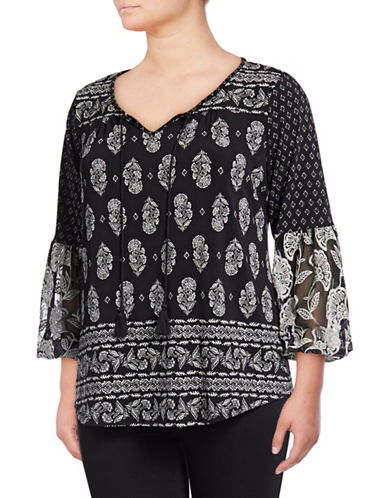 Style And Co. Plus Embroidered Peasant Sleeve Top-BLACK MULTI-3X