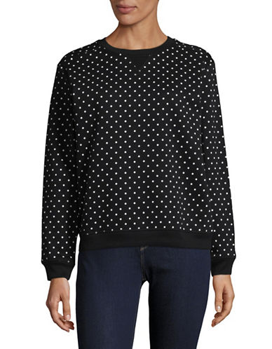 Karen Scott Polka Dot Sweatshirt-BLACK-Large