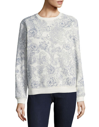 Karen Scott Stencil Print Sweatshirt-WHITE-Medium