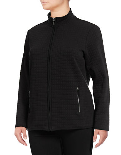 Karen Scott Plus Quilted Fleece Jacket-BLACK-1X