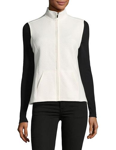 Karen Scott Petite Quilted Fleece Vest-WHITE-Petite Medium