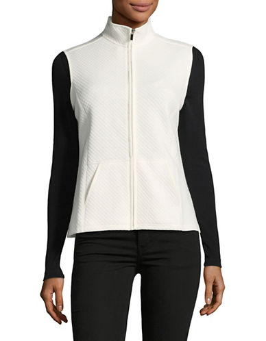 Karen Scott Petite Quilted Fleece Vest-WHITE-Petite X-Small