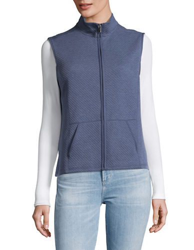 Karen Scott Petite Quilted Fleece Vest-BLUE-Petite X-Small