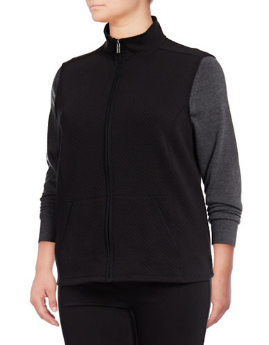 Karen Scott Plus Quilted Fleece Vest-BLACK-3X