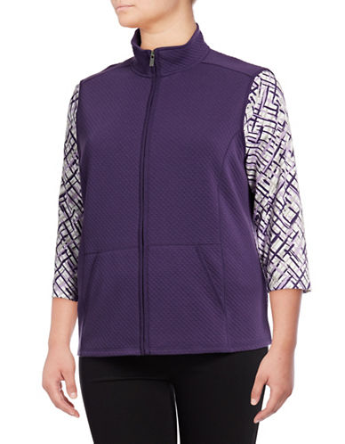 Karen Scott Plus Quilted Fleece Vest-PURPLE-1X