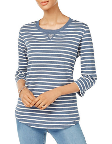 Karen Scott Petite Striped Three-Quarter Sleeve Top-BLUE MULTI-Petite Medium