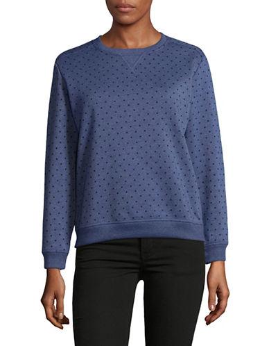 Karen Scott Petite EDV Fleece Dot Sweater-BLUE-Petite Small