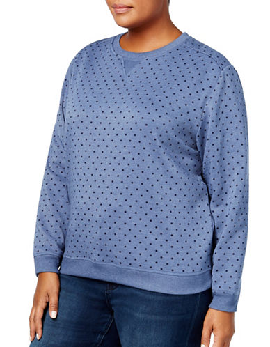 Karen Scott Plus Polka Dot Sweatshirt-BLUE-2X