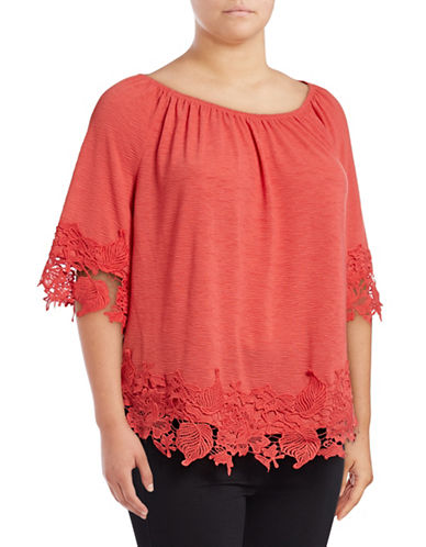 Style And Co. Plus Lace Off-The-Shoulder Top-PINK-1X