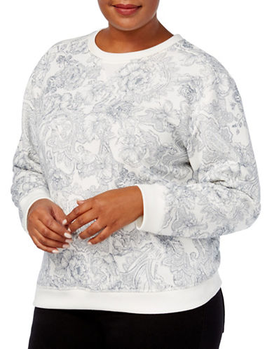 Karen Scott Plus Edv Fleece Court Floral Sweatshirt-WHITE-2X