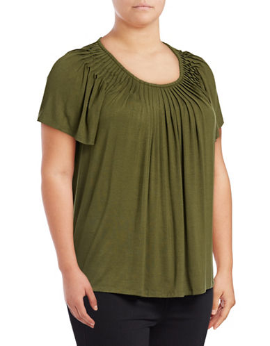 Style And Co. Plus Solid Pleated Top-GREEN-2X