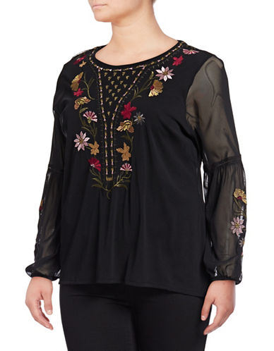 Style And Co. Plus Embroidered Floral Blouse-BLACK-1X