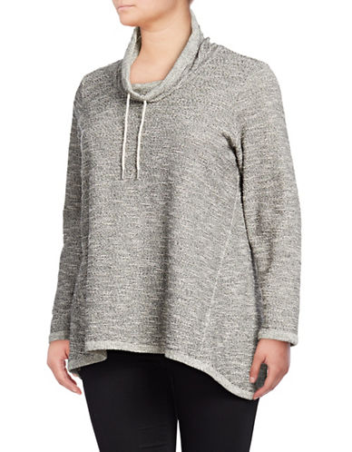 Style And Co. Plus Cowl Neck Long-Sleeve Pullover-GREY-2X