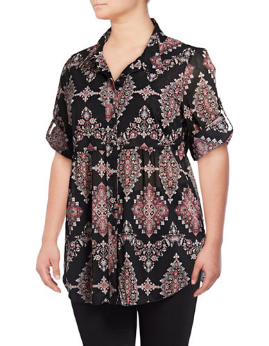 Style And Co. Plus Geometric Mesh Button-Down Shirt-BLACK-3X