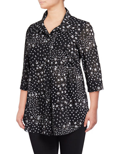 Style And Co. Plus Floral Mesh Button-Down Shirt-BLACK-2X