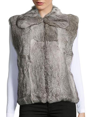 Surell Rabbit Fur Vest-DARK GREY-Small/Medium