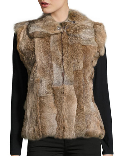 Surell Rabbit Fur Vest-HEATHER-Medium/Large