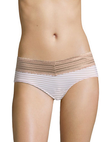 WarnerS No Pinch Lace Hipster Panty-TOASTED PINK STRIPE-Medium