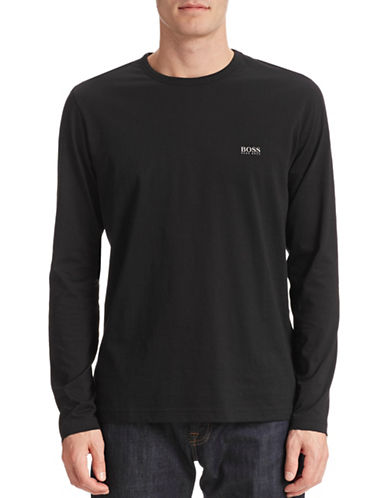 Boss Green Modern-Fit Long Sleeve Cotton T-Shirt-BLACK-Large