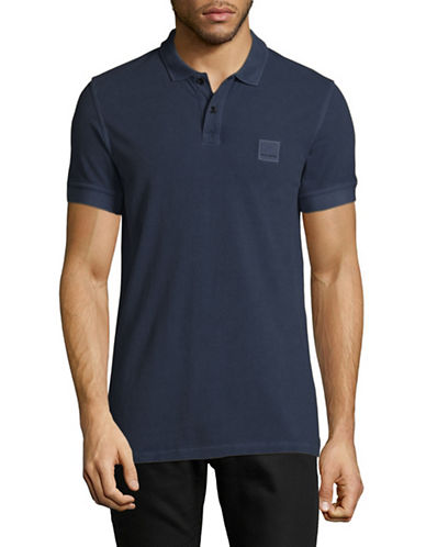 Boss Orange Pascha Slim-Fit Polo Shirt-DARK BLUE-Small