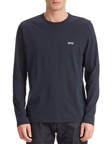 Boss Green Modern-Fit Long Sleeve Cotton T-Shirt-NAVY-Medium