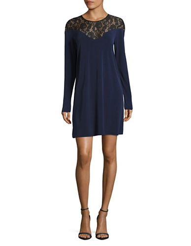 Bcbgeneration Long Sleeve Lace Yoke Dress-DARK NAVY-X-Small