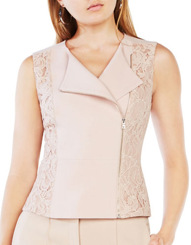 Bcbgmaxazria Carrie Lace Peplum Top-PINK-X-Small 88673538_PINK_X-Small