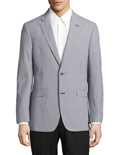 Tommy Hilfiger Micro Gingham Stretch Performance Dress Jacket-BLUE-38 Regular