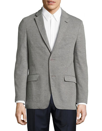 Tommy Hilfiger Melange Single-Breasted Sports Jacket-GREY-46 Tall