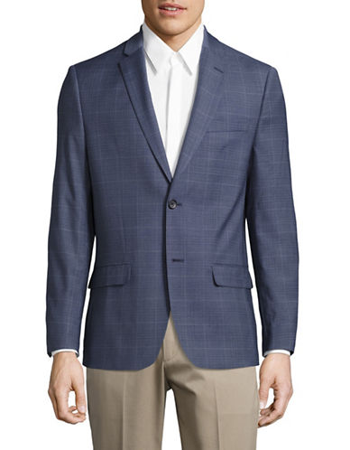 Tommy Hilfiger Trim Fit Windowpane Stretch Performance Suit Jacket-BLUE-40 Regular