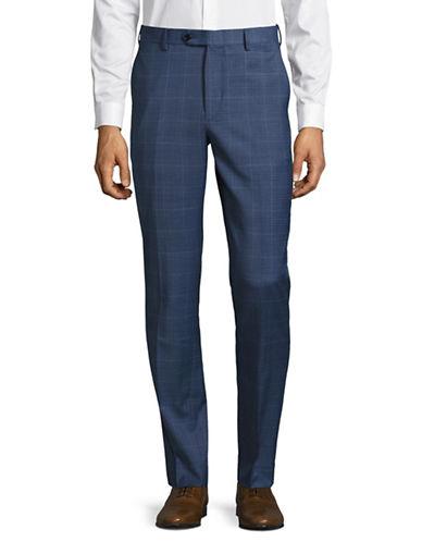 Tommy Hilfiger Stretch Wool-Blend Plaid Trousers-BLUE-30X30