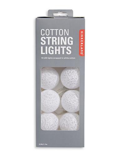 Kikkerland Cotton String Lights-WHITE-One Size