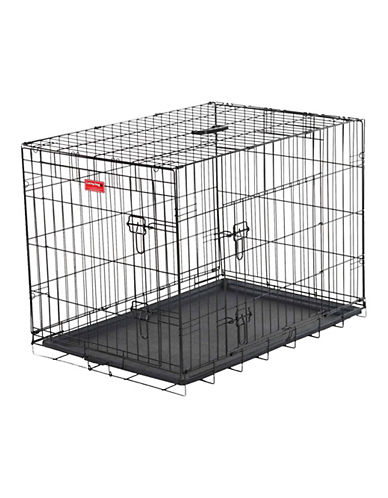 Jewett Cameron Lucky Dog Small Two-Door Training Crate-BLACK-One Size