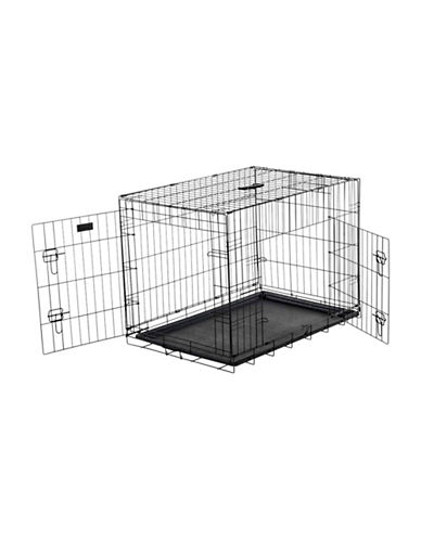 Jewett Cameron Lucky Dog Medium Two-Door Training Crate-BLACK-One Size
