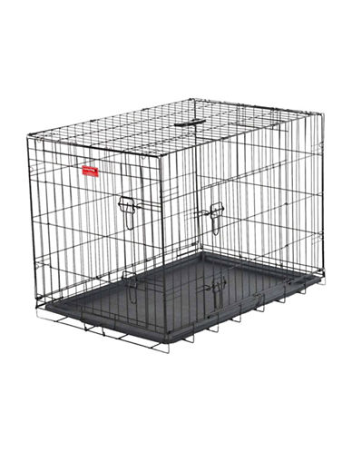 Jewett Cameron Lucky Dog Large Two-Door Training Crate-BLACK-One Size