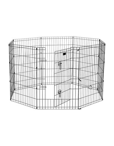 Jewett Cameron Lucky Dog Medium Exercise Pen with Stakes-BLACK-One Size
