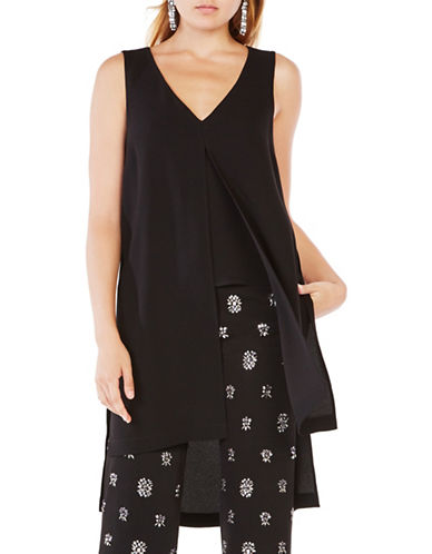 Bcbg Maxazria Svetlana Cropped Overlay Top-BLACK-X-Small