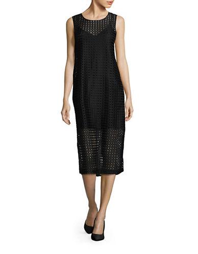 Bcbgeneration Mesh Overlay Midi Dress-BLACK-X-Small