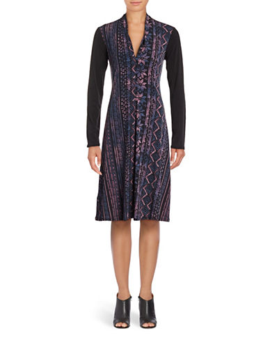 Bcbgeneration Scroll-Print A-Line Dress-WINE COMBO-XX-Small