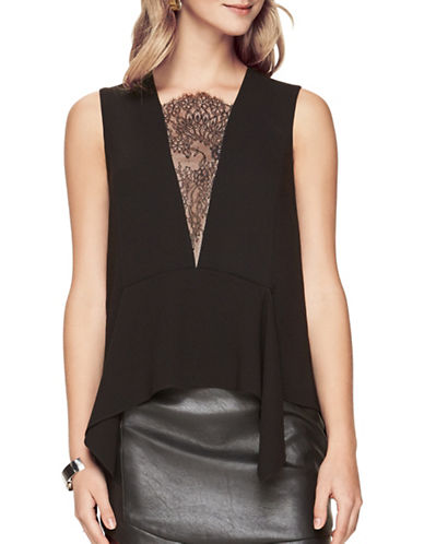 Bcbgmaxazria Whitlee Lace-Blocked Tank Top-BLACK-X-Small 88886100_BLACK_X-Small