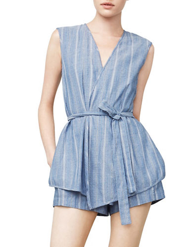 Bcbg Maxazria Lexxi Striped Romper-BLUE-XX-Small