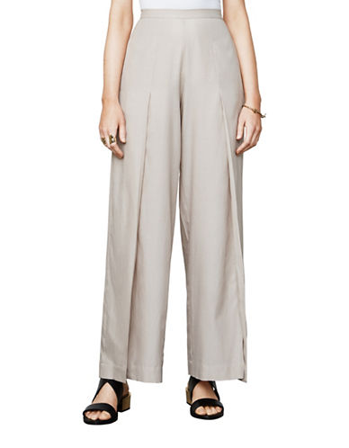 Bcbg Maxazria Michael Slit Wide-Leg Pants-BEIGE-XX-Small