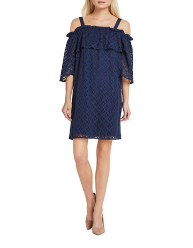 Bcbgeneration Lace Off-Shoulder Shift Dress-NAVY-XX-Small